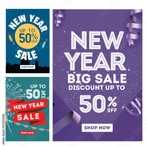 modern new year sale banner set suitable for call to action button advertisement