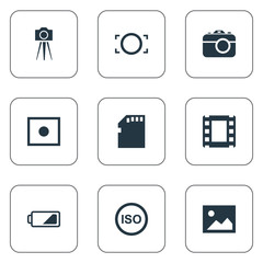 Set Of 9 Simple Photograph Icons. Can Be Found Such Elements As Camcorder, Apparatus Photographer, Memory Card And Other.