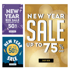 Modern New Year Sale Banner Set, Suitable For Call To Action Button, Advertisement, E-newsletter, Web Banners, Posters and Social Media Promotions