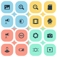 Set Of 16 Simple Photography Icons. Can Be Found Such Elements As Photograph, Apparatus Photographer, Light Level And Other.