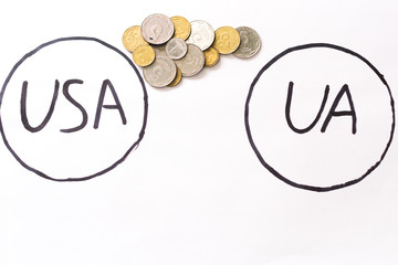 America Ukraine coins on white background