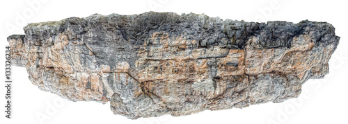 Wall mural Rocky land piece floating in the space isolated on white backgro