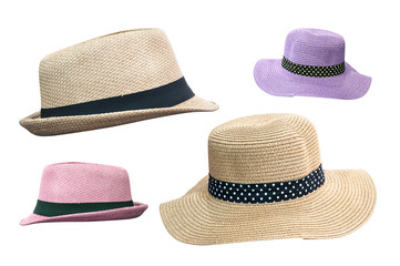 Woven fedora hat isolated on white background with clipping path