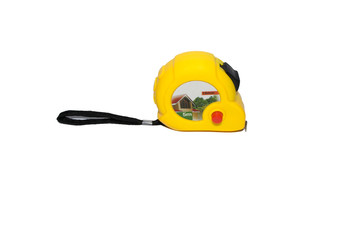 construction measuring tape on white background