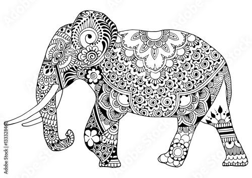 Indian elephant in style mihendi on a white background