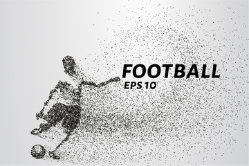 Football of the particles carries in the wind. Silhouette of a football player from circles.