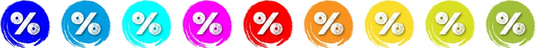 Lachende Prozente, Button in verschiedenen Farben