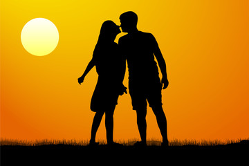 Silhouette kiss of young man and woman on sunset background, vector illustration
