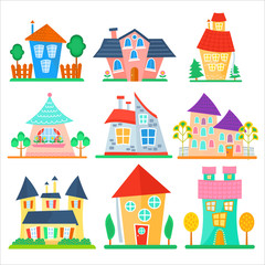 Cute cartoon houses collection. Funny colorful kid vector house set.