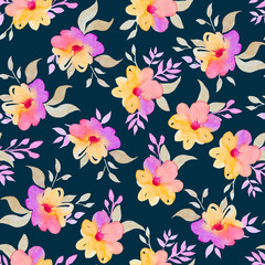 Floral seamless pattern in watercolor.