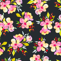Floral seamless background in watercolor.