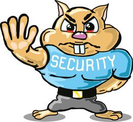 Hamster security guard vector sketch illustraiton clip-art