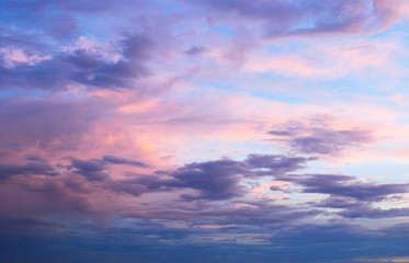 Early morning spring summer pink and blue cloudy sky Wall mural