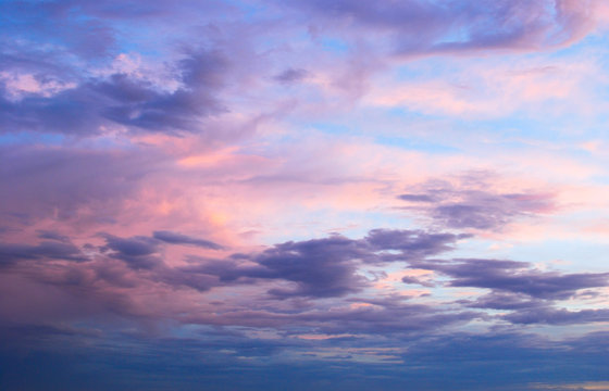 Early morning spring summer pink and blue cloudy sky