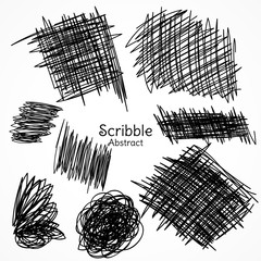 ink lines of pen in scribble style hand drawn set collection
