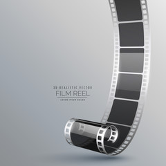 realistic 3d film roll on gray background
