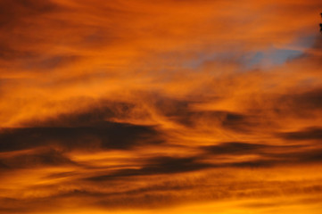 Orange Sunset Clouds Abstract
