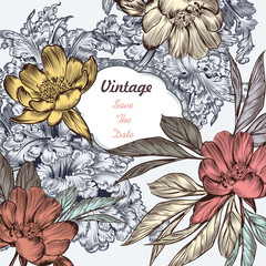 Beautiful save the date card with vintage ornament and peony flo