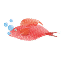hand drawing red fish half aquatic environment bubbles vector illustration eps 10