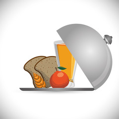breakfast bread juicy apple wheat catering vector illustration eps 10
