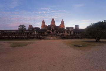 Sunrise at Angkor Wat at the east gate entrance