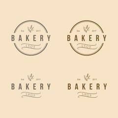 Bakery Round Logo Vintage Design Set