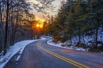Winding road, scenic sunset, Kentucky backroads