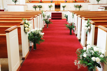 red carpet in church for wedding ceremony