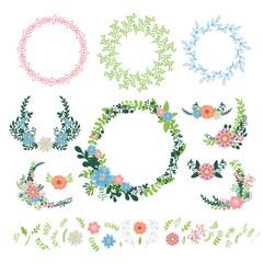 Floral wreath decoration vector.