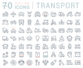 Set Vector Flat Line Icons Transport
