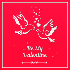 Love symbols, couple of pigeons. Valentines card. Text Be My Valentine. Vector illustration