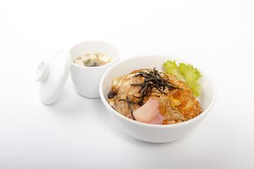 Rice with Pork Korea, japanese isolated  White background