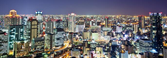Night view of Osaka city skyline