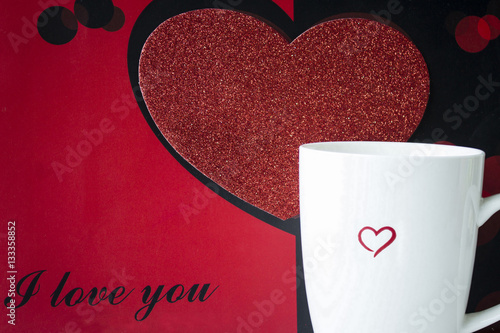 Horizontal Image Of A Black And Red Background With Big Heart Text Saying