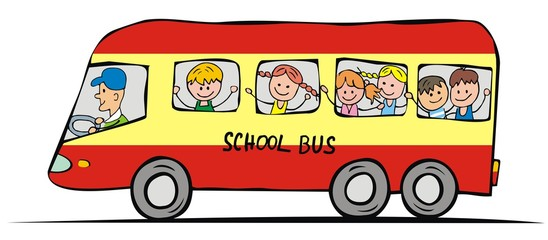 School bus and children. Funny illustration. Vector icon.