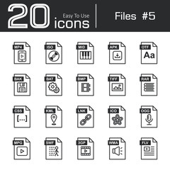 Files icon set 5 ( mp4 , iso , mid , apk , otf , bak , bat , bmp , tif , rar , css , kml , ink , ico , ogg , mpg , swf , 3gp , wma , flv )