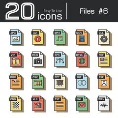 Files icon set 6 ( jpg , avi , mp3 , mov , dll , zip , raw , eps , html , pdf , doc , csv , ppt , gif , exe , png , xls , txt , eml , wav ) vintage and retro style .