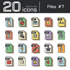 Files icon set 7 ( mp4 , iso , mid , apk , otf , bak , bat , bmp , tif , rar , css , kml , ink , ico , ogg , mpg , swf , 3gp , wma , flv ) vintage and retro style .