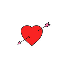 Heart with arrow solid icon, Love sign Valentine's day, love concept, vector graphics, a  colorful linear pattern on a white background, eps 10.