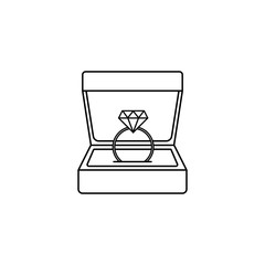 Wedding diamond ring in gift box line icon, engagement in Valentine's day, love concept, vector graphics, a linear pattern on a white background, eps 10.