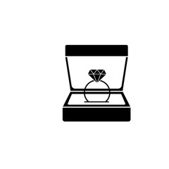 Wedding diamond ring in gift box solid icon, engagement in Valentine's day, love concept, vector graphics, a filled pattern on a white background, eps 10.