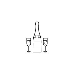 Champagne bottle with wine glasses line icon, Valentine's day and 8 march, love concept, vector graphics, a linear pattern on a white background, eps 10.