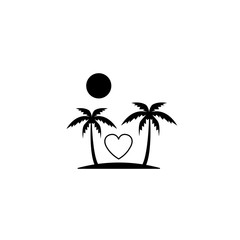 Tour in Valentine's day solid icon, Travel and Island with heart, love concept, vector graphics, a filled pattern on a white background, eps 10.