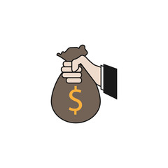 Sponsor Investment solid icon, Hand Holding Money Bag, vector graphics, a colorful linear pattern on a white background, eps 10.