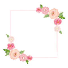 Vector illustration of a beautiful floral border with rose and flowers pastel colors for wedding invitations and birthday cards