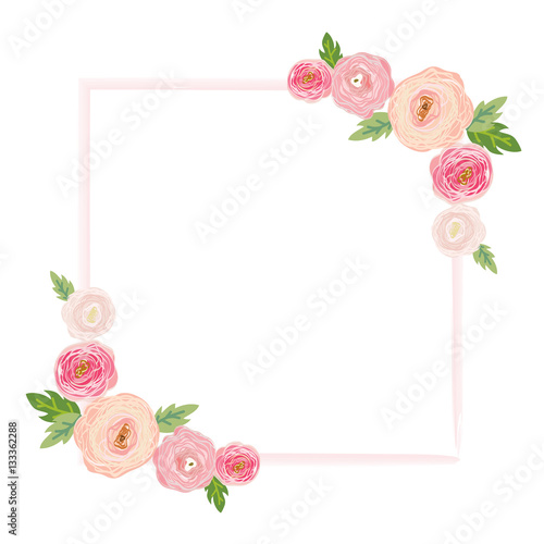 Vector illustration of a beautiful floral border with for Beautiful pastel colors