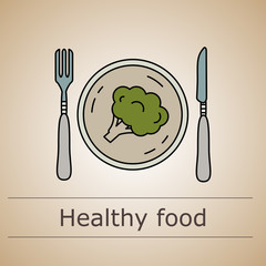 Thin line illustration with the fork and knife with plate and broccoli.
