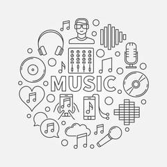 Music line round illustration