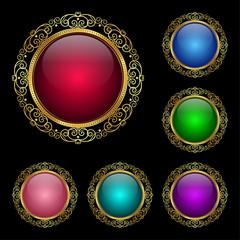 Glossy round frames set