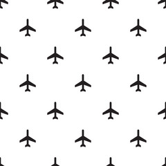 Seamless airplane sign pattern on white